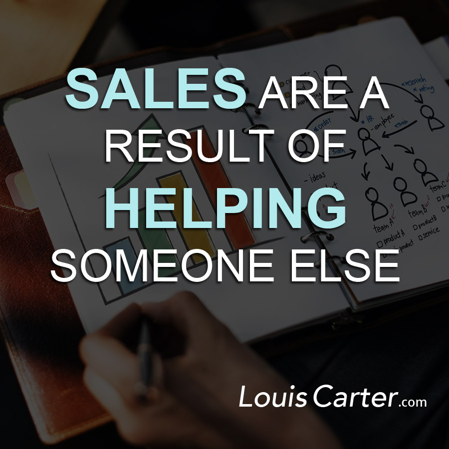 Sales are result of Helping someone else.