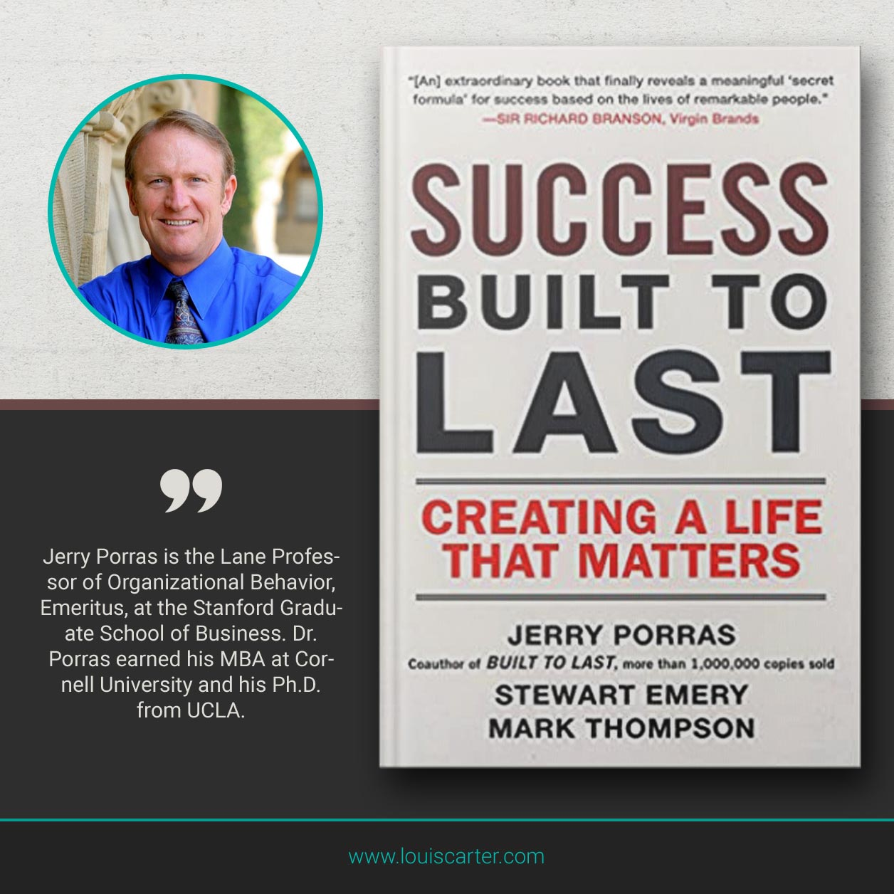 Picture of best books on leadership Success Built to Last by Jerry Porras, Stewart Emery, and Mark Thomson.