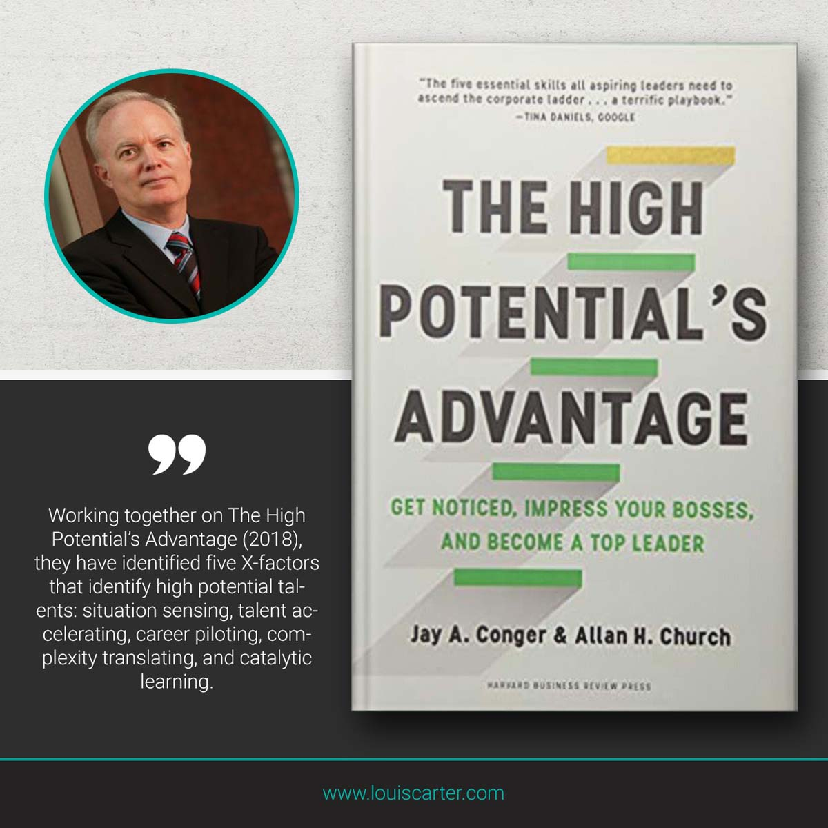 Image of The High Potential's Advantage leadership book by Jay A Conger.