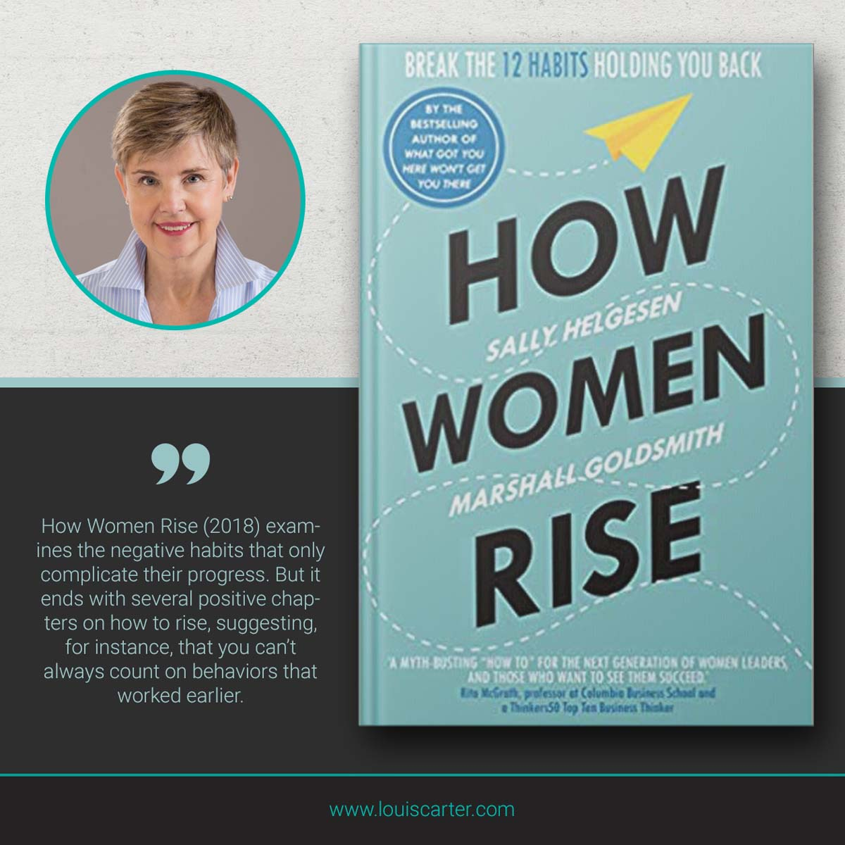 Image of Leadership book How Women Rise by Sally Helgesen and Marshall Goldsmith.