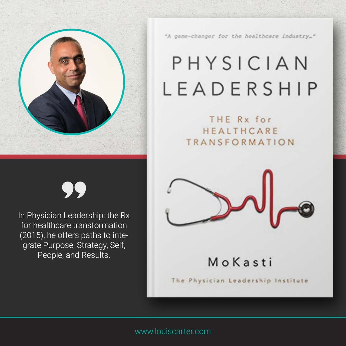 Picture of Physician Leadership by Mo Kasti book on Leadership.