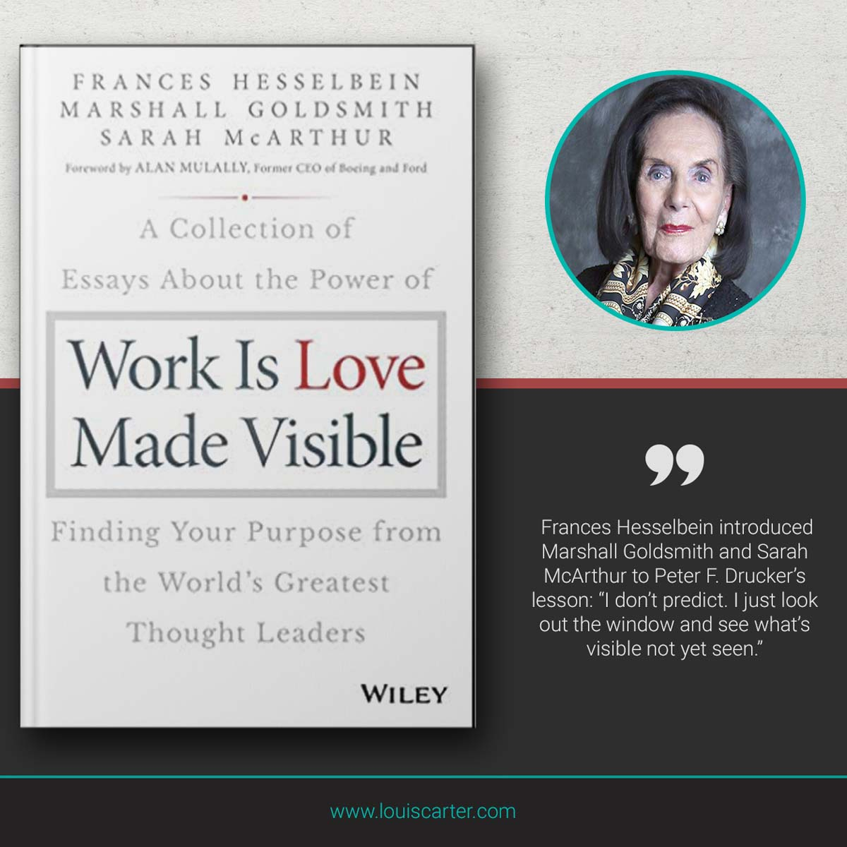 Image of Work is Love Made Visible Book on Leadership by Frances Hesselbein, Marshall Goldsmith, and Sarah McArthur.