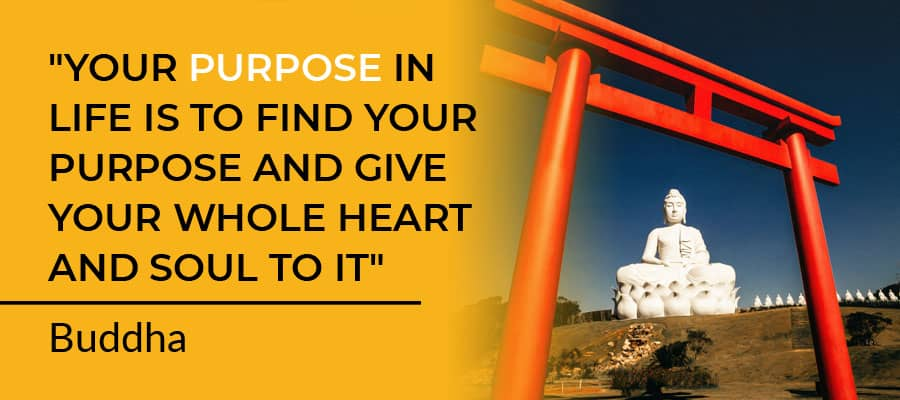 """""""Your purpose in life is to find your purpose and give your whole heart and soul to it"""" ― Buddha"""